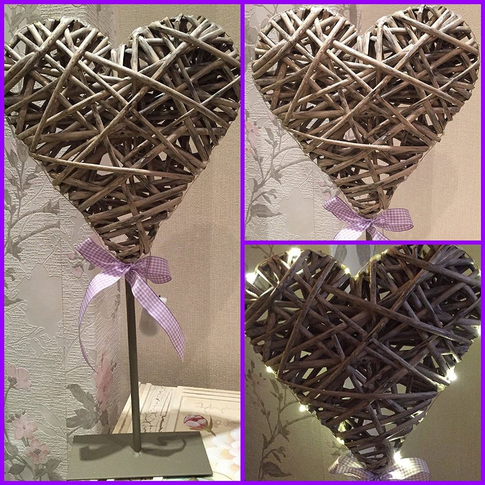 Shabby Chic Light Up Willow Heart with Lilac Gingham Ribbon on Metal Stand